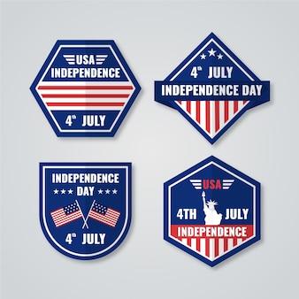 7月のフラット4日-独立記念日のラベルコレクション