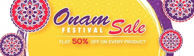 Flat 50% discount offer for onam festival sale banner.
