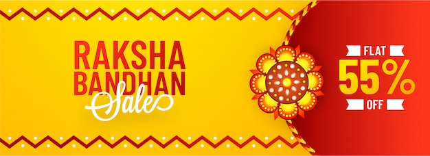Flat 55% off offer for raksha bandhan sale banner.