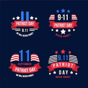 Flat 9.11 patriot day badges collection