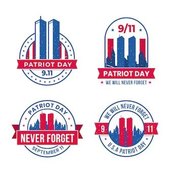 Плоская коллекция значков 9.11 день патриота