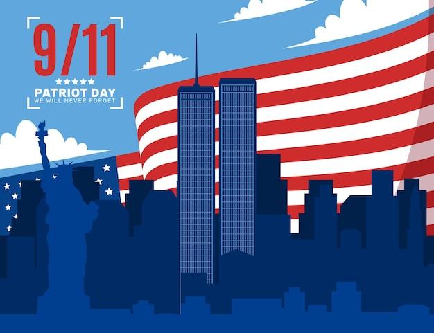フラット9.11愛国者の日のイラスト