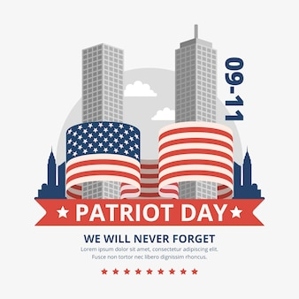 Flat 9.11 patriot day illustration Free Vector
