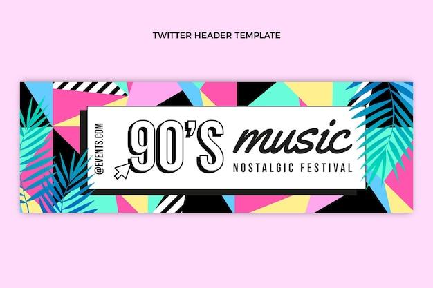 Flat 90s music festival twitter header