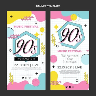 Flat 90s music festival vertical banners