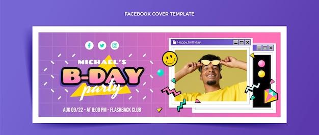 Flat 90s nostalgic birthday facebook cover