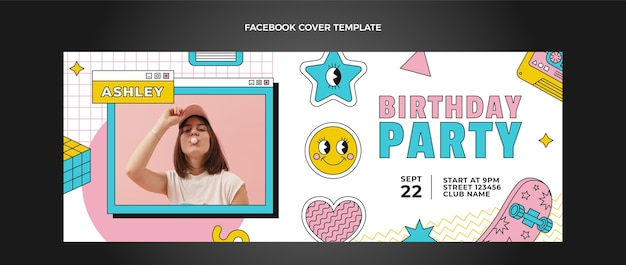 플랫 90년대 그리운 생일 페이스북 커버