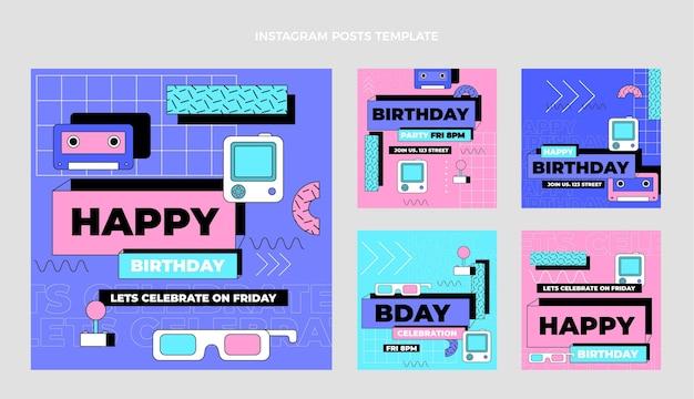 Flat 90s nostalgic birthday instagram post