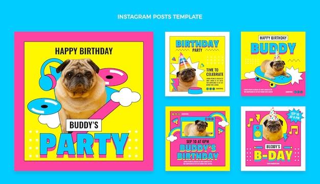 플랫 90년대 향수를 불러일으키는 생일 인스타그램 게시물 모음
