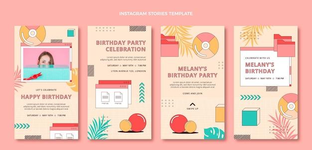 Flat 90s nostalgic birthday instagram stories
