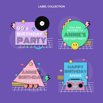 플랫 90s 레트르 생일 라벨 컬렉션