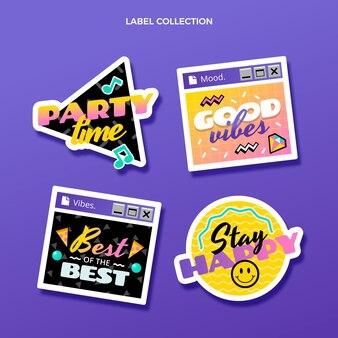 Flat 90s nostalgic birthday label set