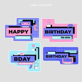 Плоские ностальгические этикетки на день рождения 90-х годов