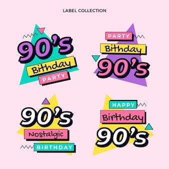 Flat 90s nostalgic birthday labels