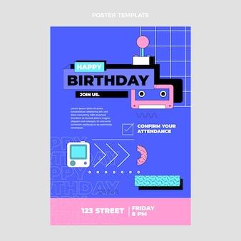 Плоский ностальгический плакат на день рождения 90-х
