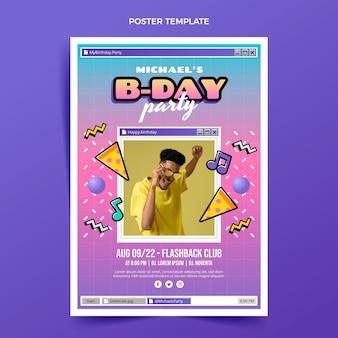 Flat 90s nostalgic birthday poster