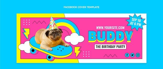 평면 90 년대 향수 생일 소셜 미디어 표지 템플릿