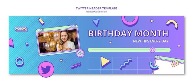 Плоский заголовок в твиттере с ностальгическим днем рождения в стиле 90-х