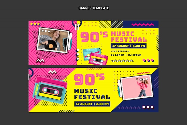Flat 90s nostalgic music festival banners horizontal