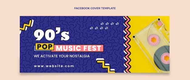 Flat 90s nostalgic music festival facebook cover