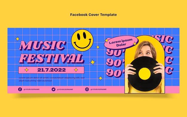 Copertina di facebook del festival musicale nostalgico piatto anni '90