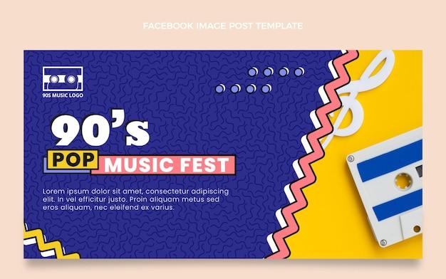 Post facebook del festival musicale nostalgico piatto anni '90