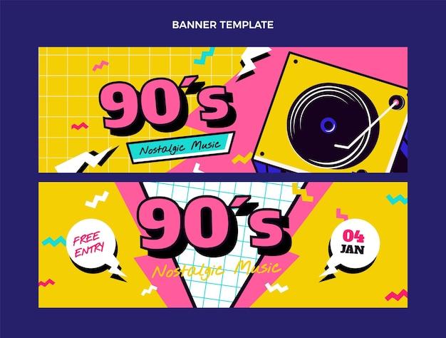 Плоские горизонтальные баннеры ностальгического музыкального фестиваля 90-х годов