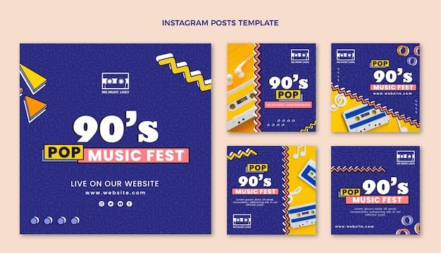 Flat 90s nostalgic music festival instagram post