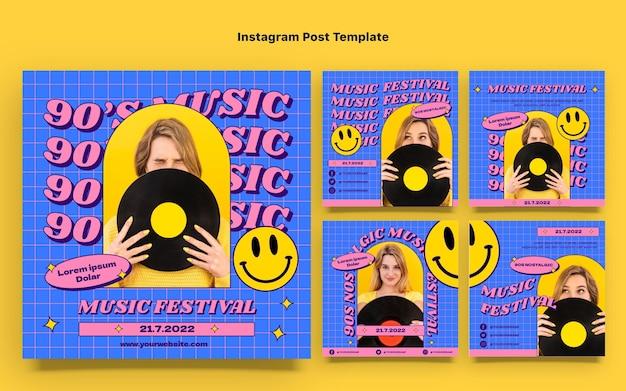 플랫 90년대 향수를 불러일으키는 뮤직 페스티벌 인스타그램 포스트