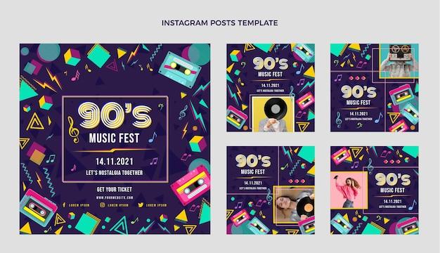 플랫 90년대 향수를 불러일으키는 음악 축제 인스타그램 게시물 모음