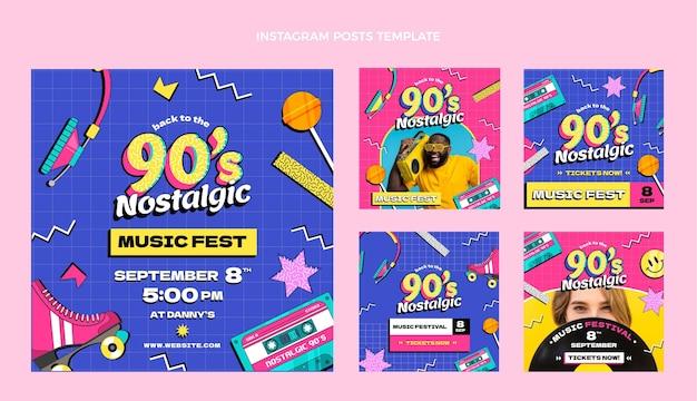 Flat 90s nostalgic music festival instagram posts collection