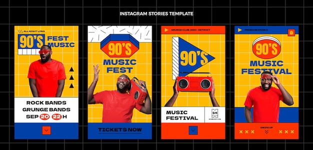 Flat 90s nostalgic music festival instagram stories collection