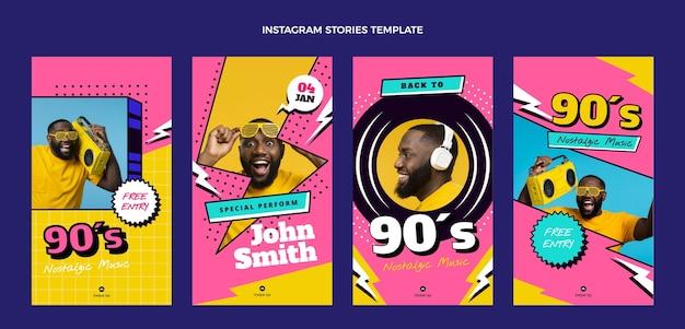 Flat 90s nostalgic music festival instagram stories