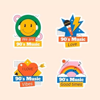 Плоский набор этикеток ностальгического музыкального фестиваля 90-х