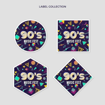 Коллекция этикеток ностальгического музыкального фестиваля в стиле 90-х