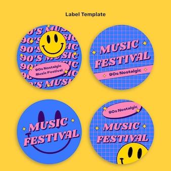 Flat 90s nostalgic music festival labels