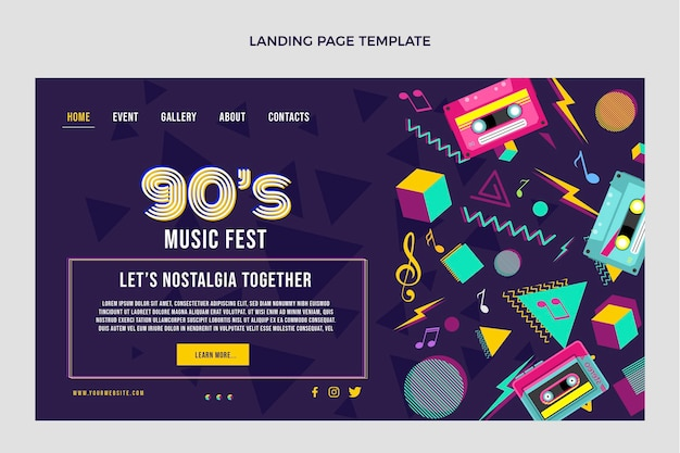 Flat 90s nostalgic music festival landing page template