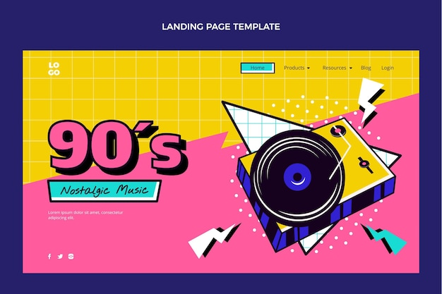 Flat 90s nostalgic music festival landing page