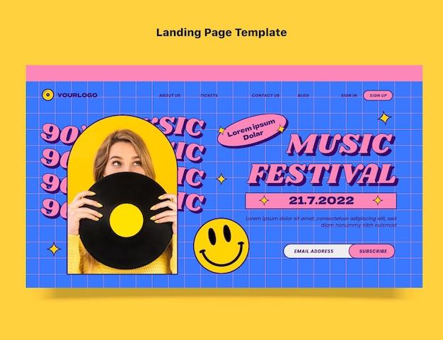 평평한 90년대 향수를 불러일으키는 뮤직 페스티벌 랜딩 페이지