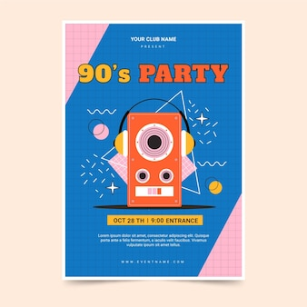 Flat 90s nostalgic music festival print template