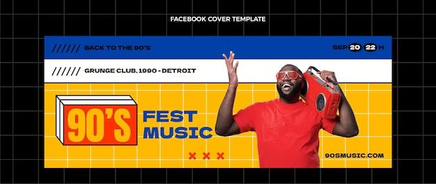Flat 90s nostalgic music festival social media cover template