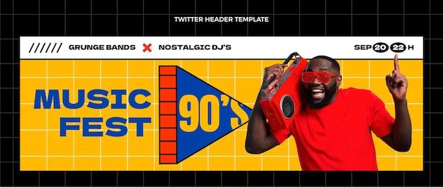Flat 90s nostalgic music festival social media header template