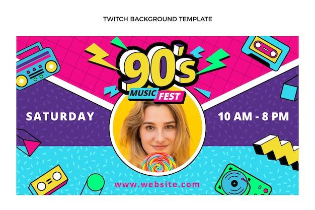 Flat 90s nostalgic music festival twitch background