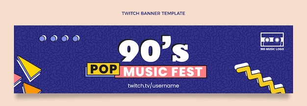 フラット90年代ノスタルジックな音楽祭のけいれんバナー