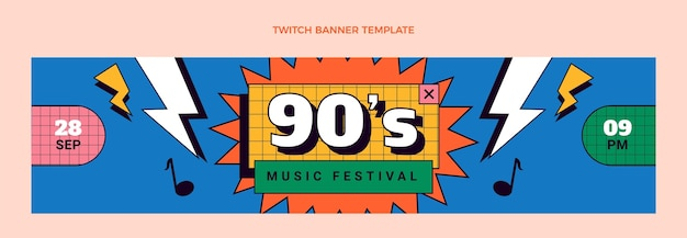 Flat 90s nostalgic music festival twitch banner