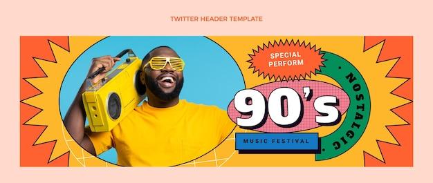 Flat 90s nostalgic music festival twitter header
