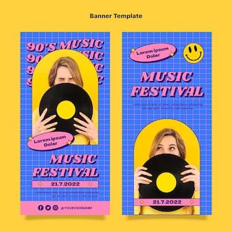 Flat 90s nostalgic music festival vertical banners