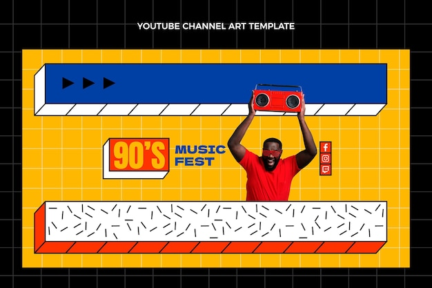 Flat 90s nostalgic music festival youtube channel art template