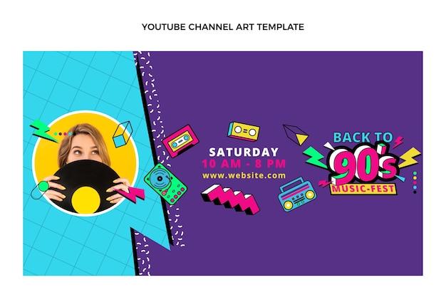 Flat 90s nostalgic music festival youtube channel art