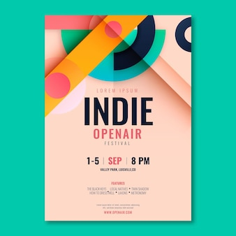 Flat a5 flyer template indie fest